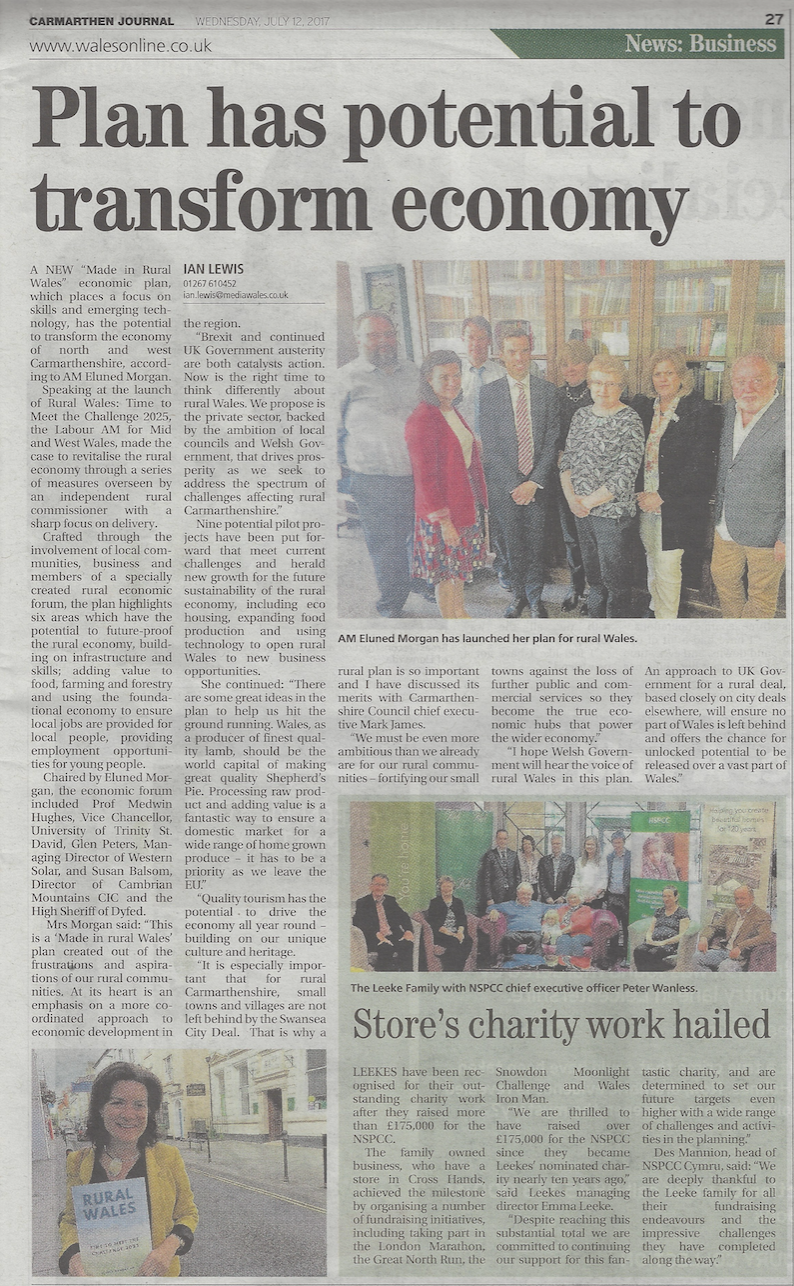 Carmarthen Journal Coverage – July 2017